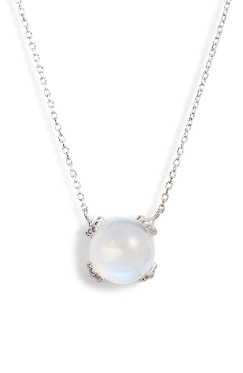 ANZIE Dew Drop Cluster Moonstone Pendant Necklace, Main, color, SILVER