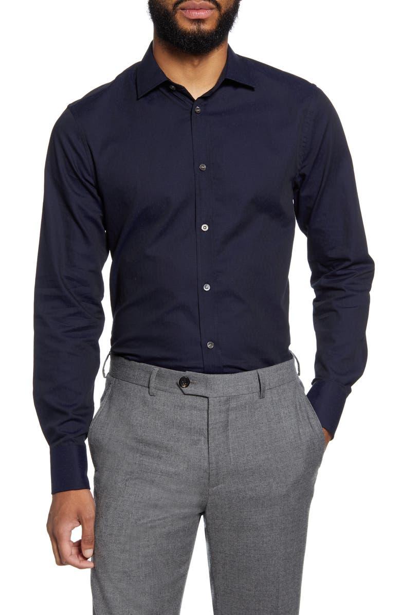 TIGER OF SWEDEN Trim Fit Dress Shirt, Main, color, NAVY