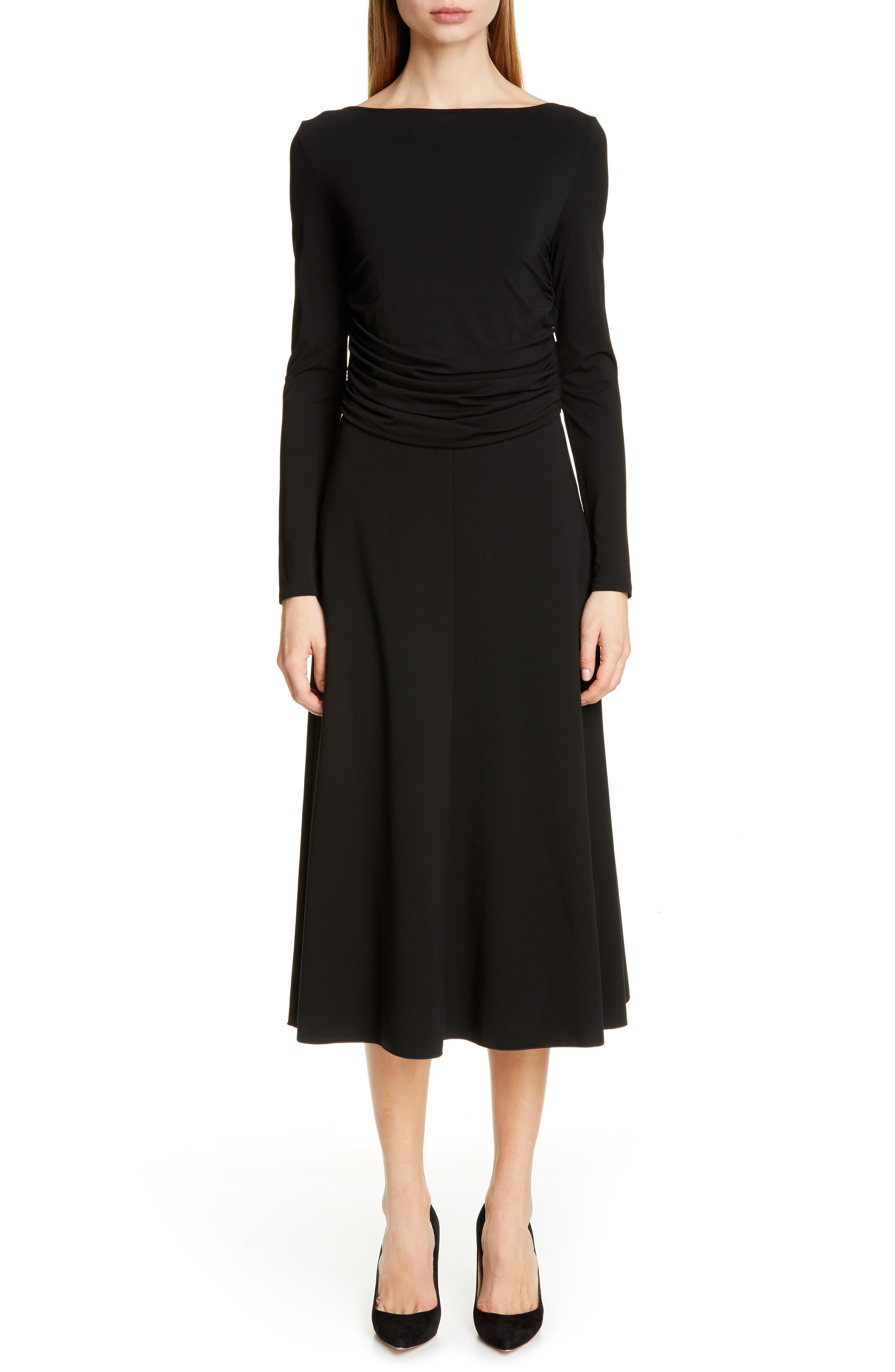 Max Mara Tirreno Long Sleeve Midi Dress, Black