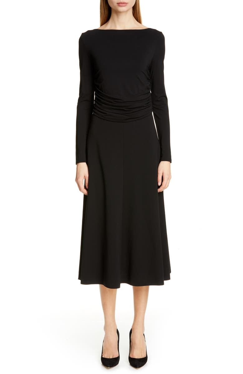 MAX MARA Tirreno Long Sleeve Midi Dress, Main, color, BLACK