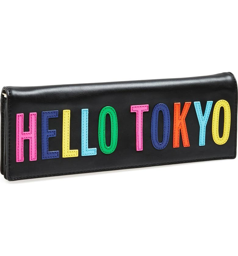 KATE SPADE NEW YORK 'hello tokyo' leather clutch, Main, color, 001
