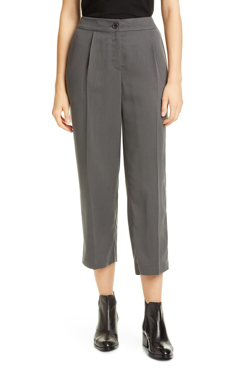 EILEEN FISHER High Waist Crop Tencel<sup>®</sup> Lyocell Trousers, Main, color, BARK