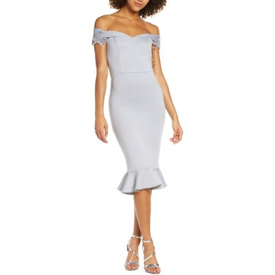 Chi Chi London Oaklee Off The Shoulder Body-Con Cocktail Dress, Blue