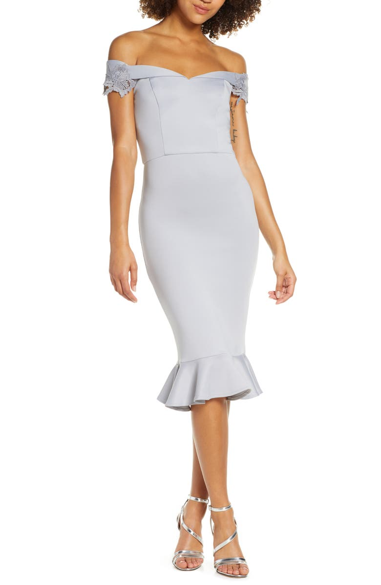 CHI CHI LONDON Oaklee Off the Shoulder Body-Con Cocktail Dress, Main, color, 450