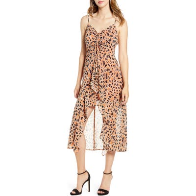 J.o.a. Animal Print Ruched Front Dress, Brown