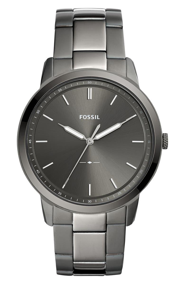 FOSSIL Minimalist Bracelet Watch, 44mm, Main, color, GUNMETAL