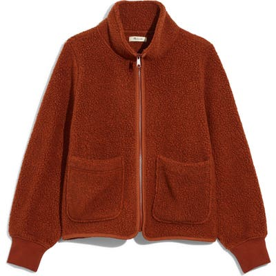 Madewell Polartec Fleece Zip-Up Jacket, Brown