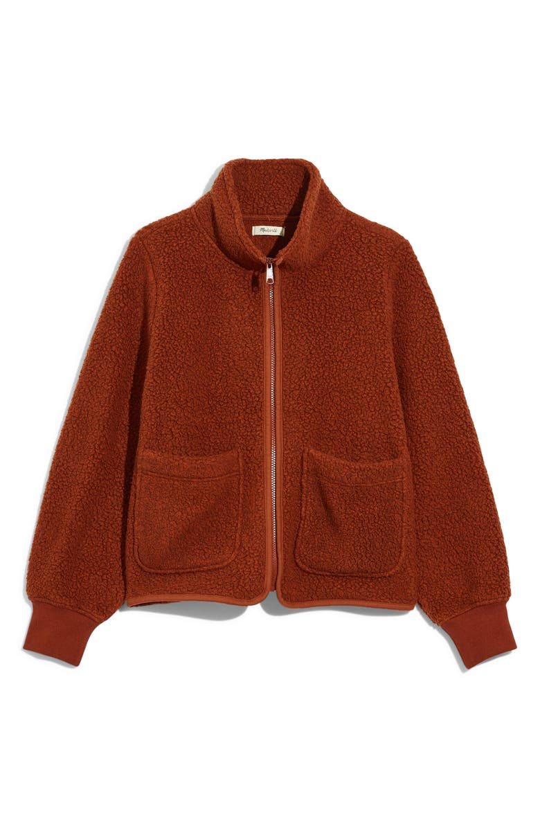 MADEWELL Polartec<sup>®</sup> Fleece Zip-Up Jacket, Main, color, HTHR MAPLE SYRUP