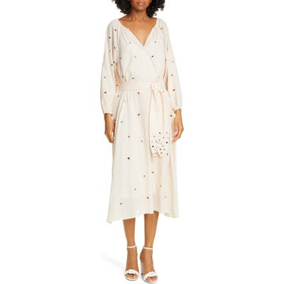 The Great. The Derby Embroidered Long Sleeve Midi Dress, Pink