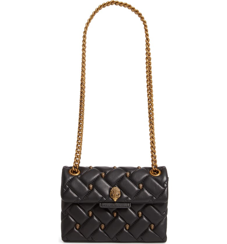 KURT GEIGER LONDON Mini Kensington Eagle Studded Quilted Leather Crossbody Bag, Main, color, BLACK/ OTHER