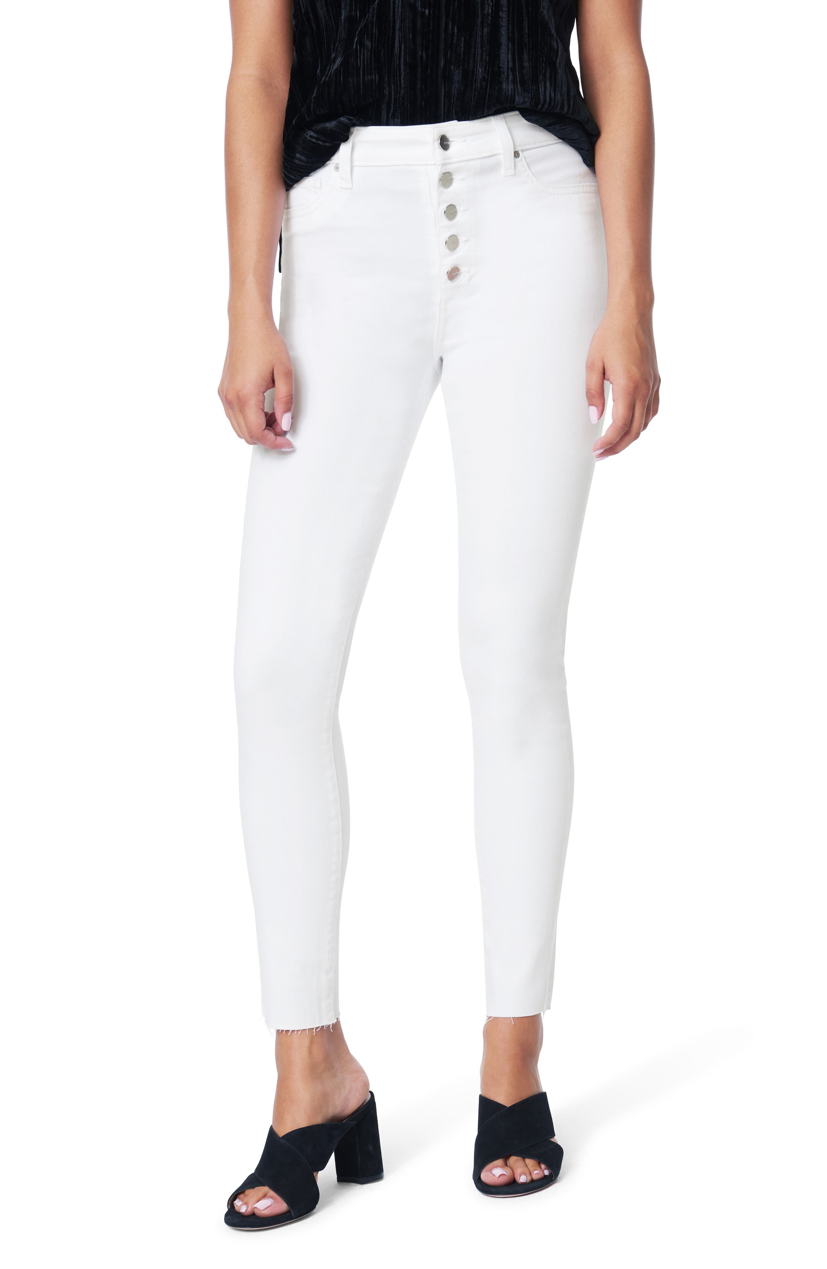 Women's Joe's The Charlie Exposed Button High Waist Ankle Skinny Jeans,  29 - White