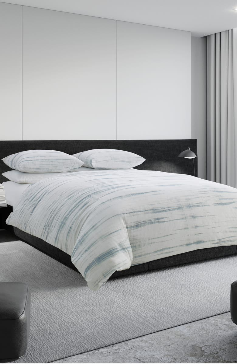 VERA WANG Marble Shibori Duvet Cover, Main, color, SILVER BLUE