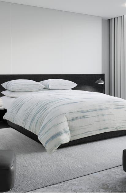 Vera Wang Marble Shibori Duvet Cover, King Bedding In Silver Blue