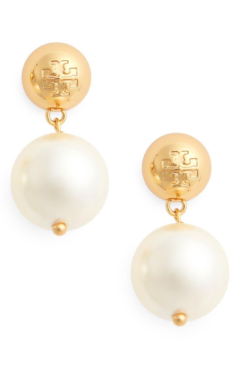 TORY BURCH Logo Faux Pearl Drop Earrings, Main, color, TORY GOLD / PEARL