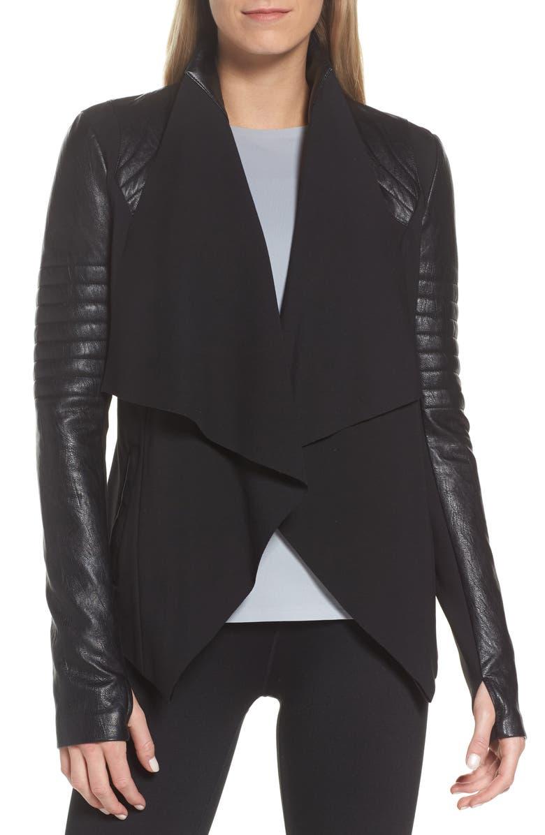 BLANC NOIR Drape Front Jacket, Main, color, BLACK