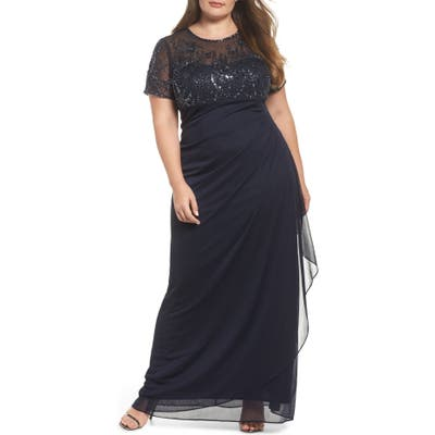 Plus Size Xscape Ruched Beaded Gown, Blue