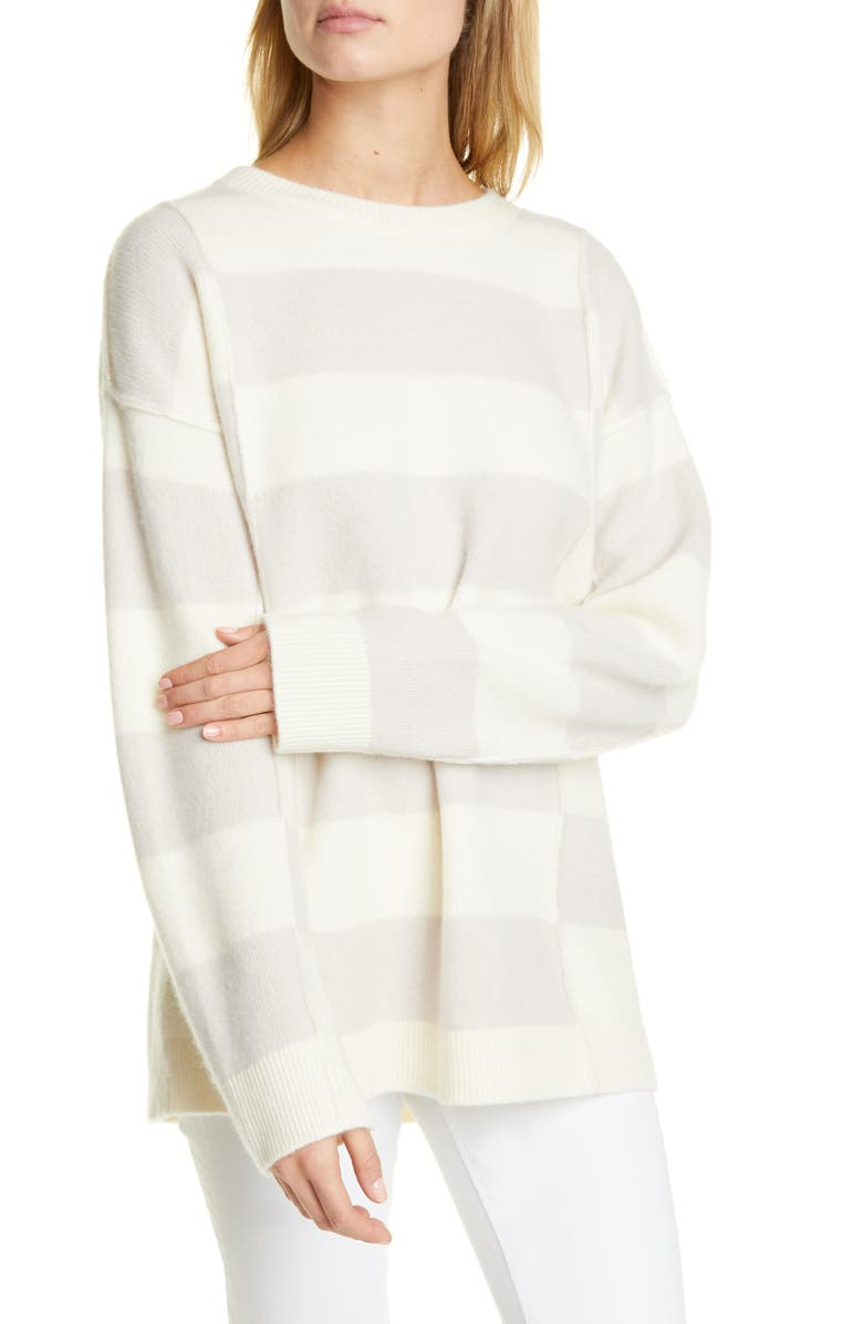 CLUB MONACO Stripe Oversize Boiled Cashmere Sweater, Main, color, STRIPE