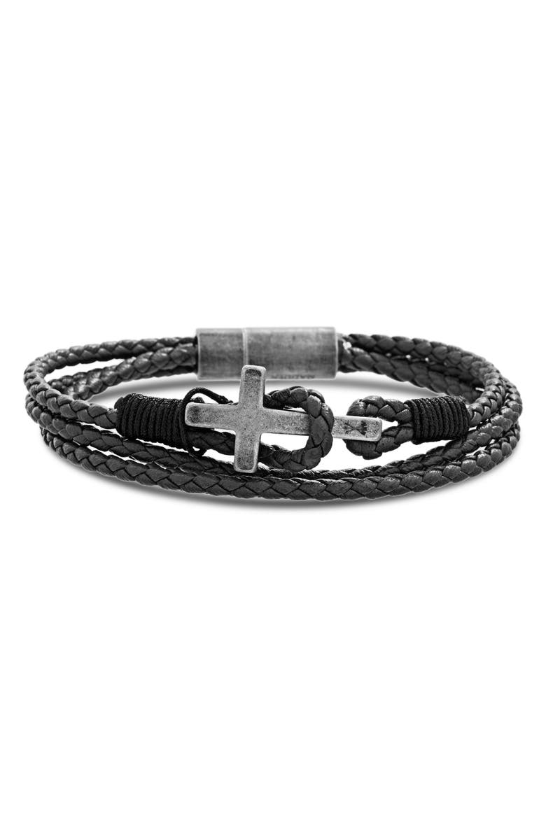 STEVE MADDEN Braided Leather Cross Bracelet, Main, color, BLACK