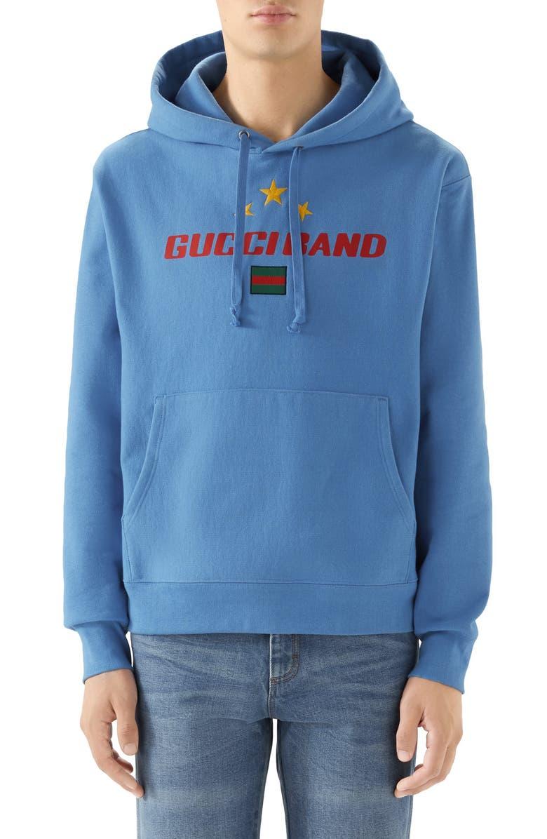 GUCCI Band Print Hooded Sweatshirt, Main, color, BLUE