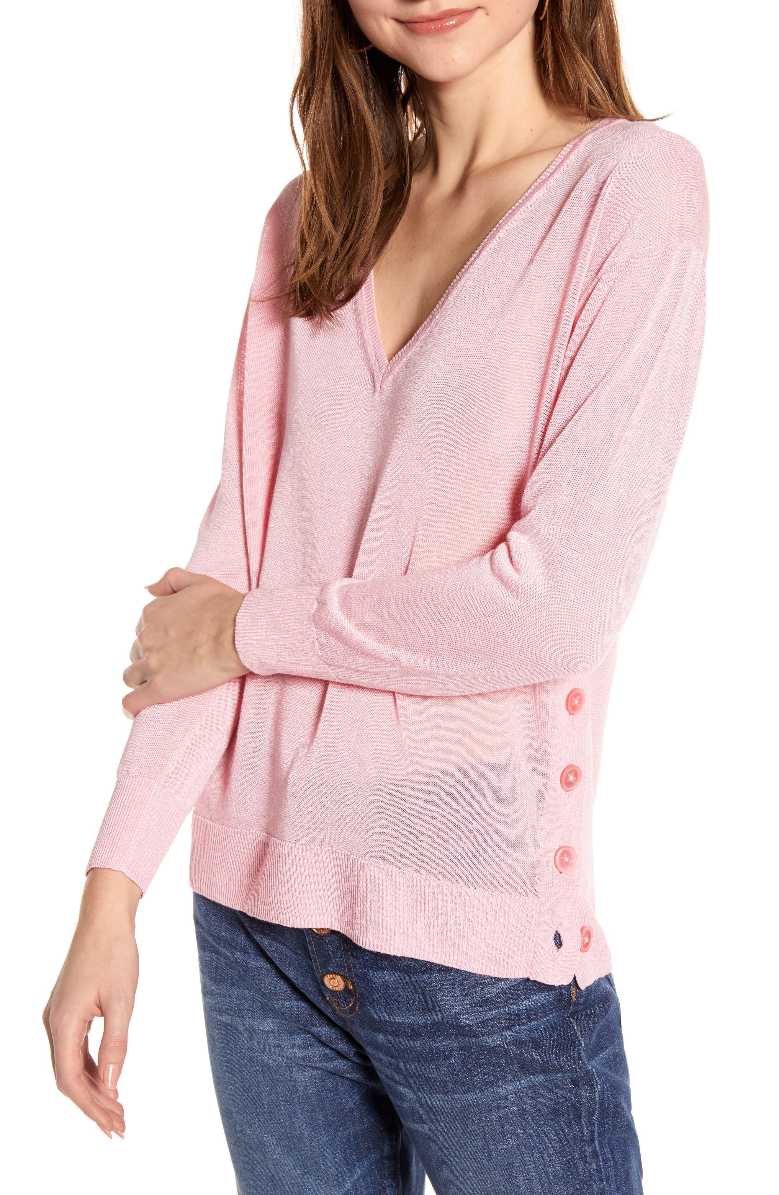 J.crew Side Button Linen Blend V-Neck Sweater, Pink