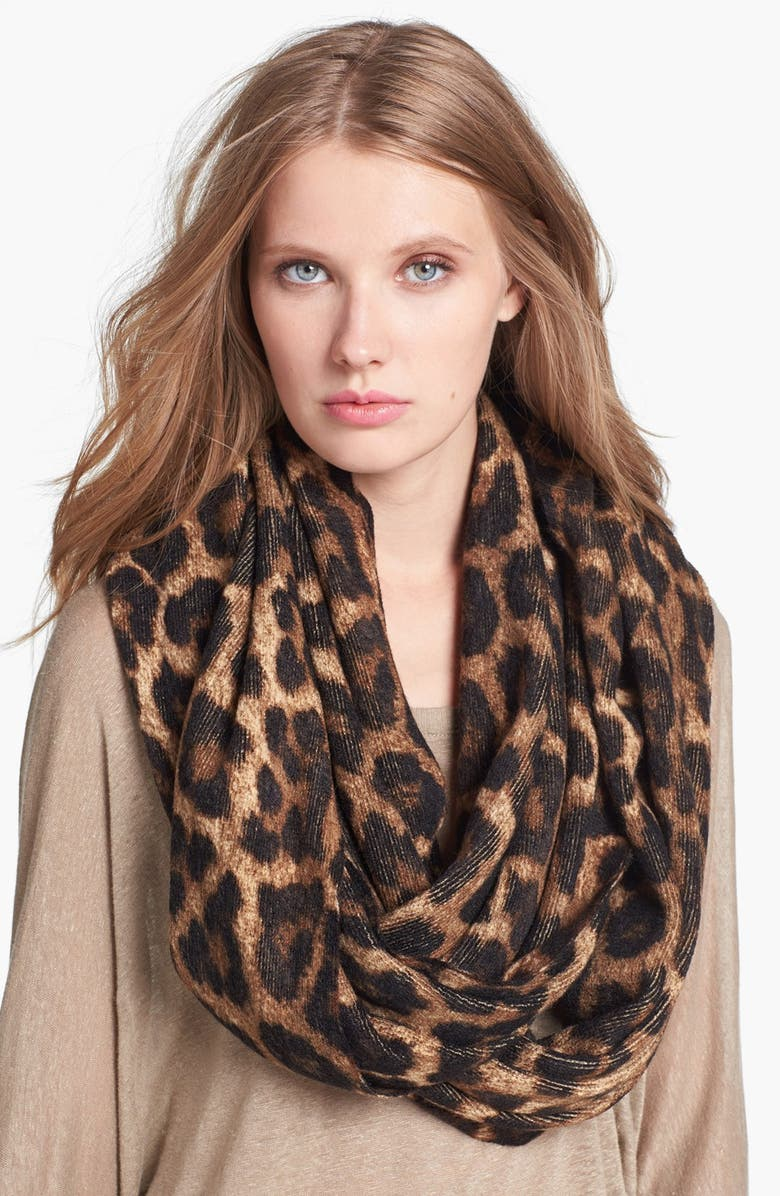 MICHAEL MICHAEL KORS 'Rochelle' Animal Print Infinity Scarf, Main, color, 200