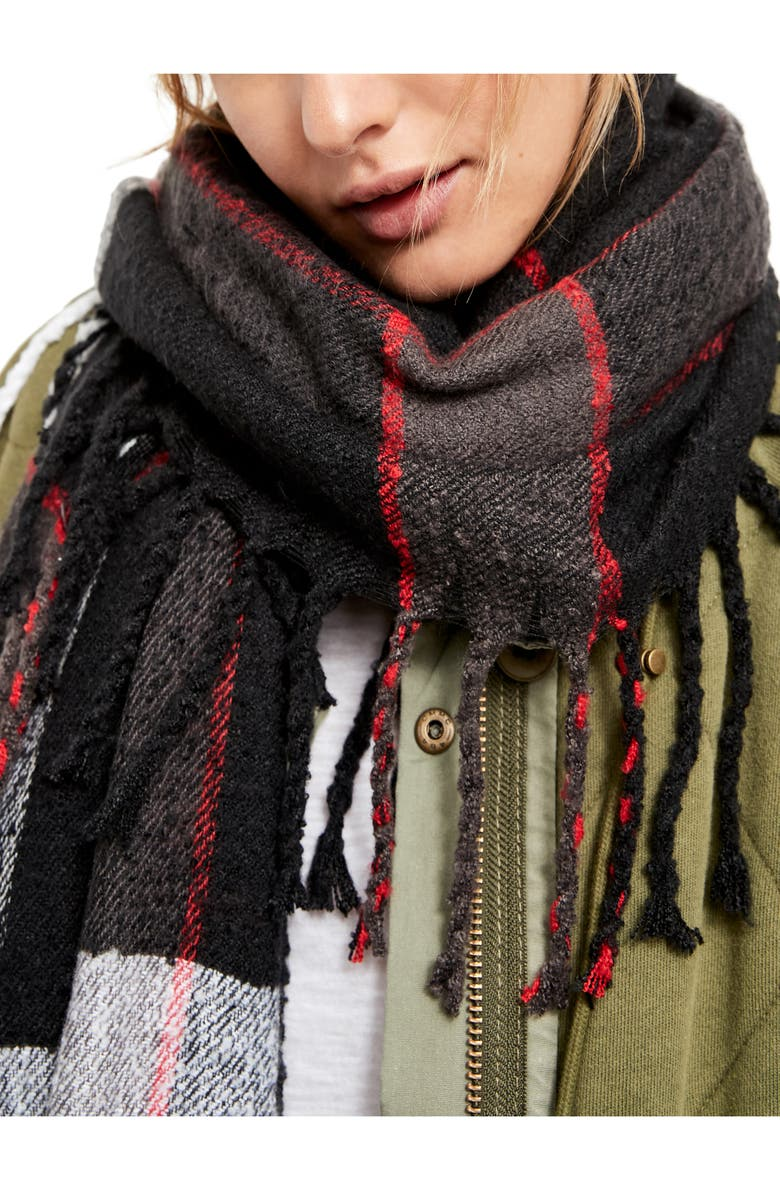 FREE PEOPLE Valley Plaid Scarf, Main, color, BLACK COMBO