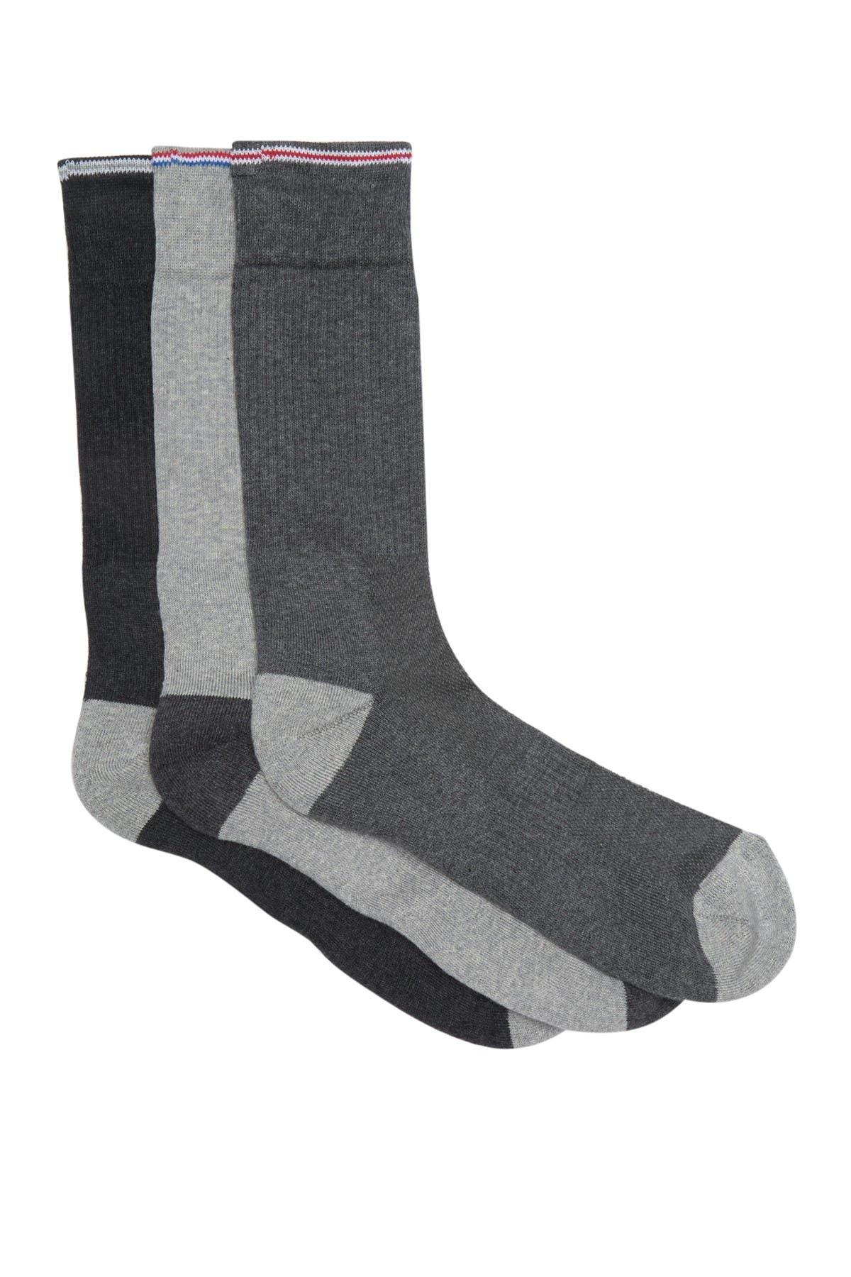 Image of Lorenzo Uomo Stripe Trim Crew Socks - Pack of 3
