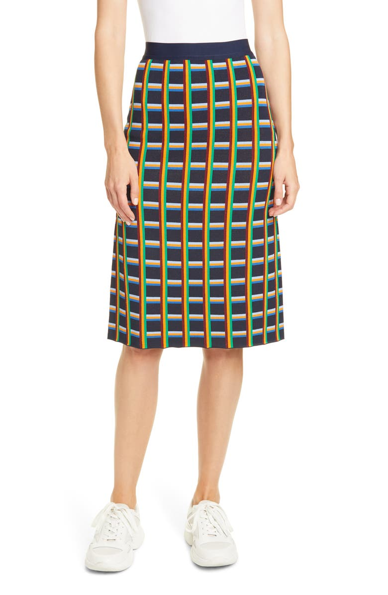 TORY SPORT Circuit Plaid Knit Skirt, Main, color, TORY NAVY NETWORK LARGE