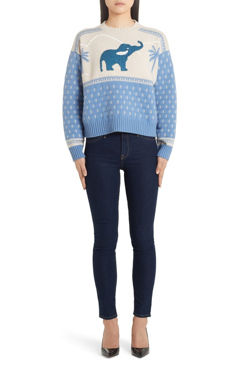 ALANUI Sequin Elephant Jacquard Sweater, Main, color, COVE LIGHT