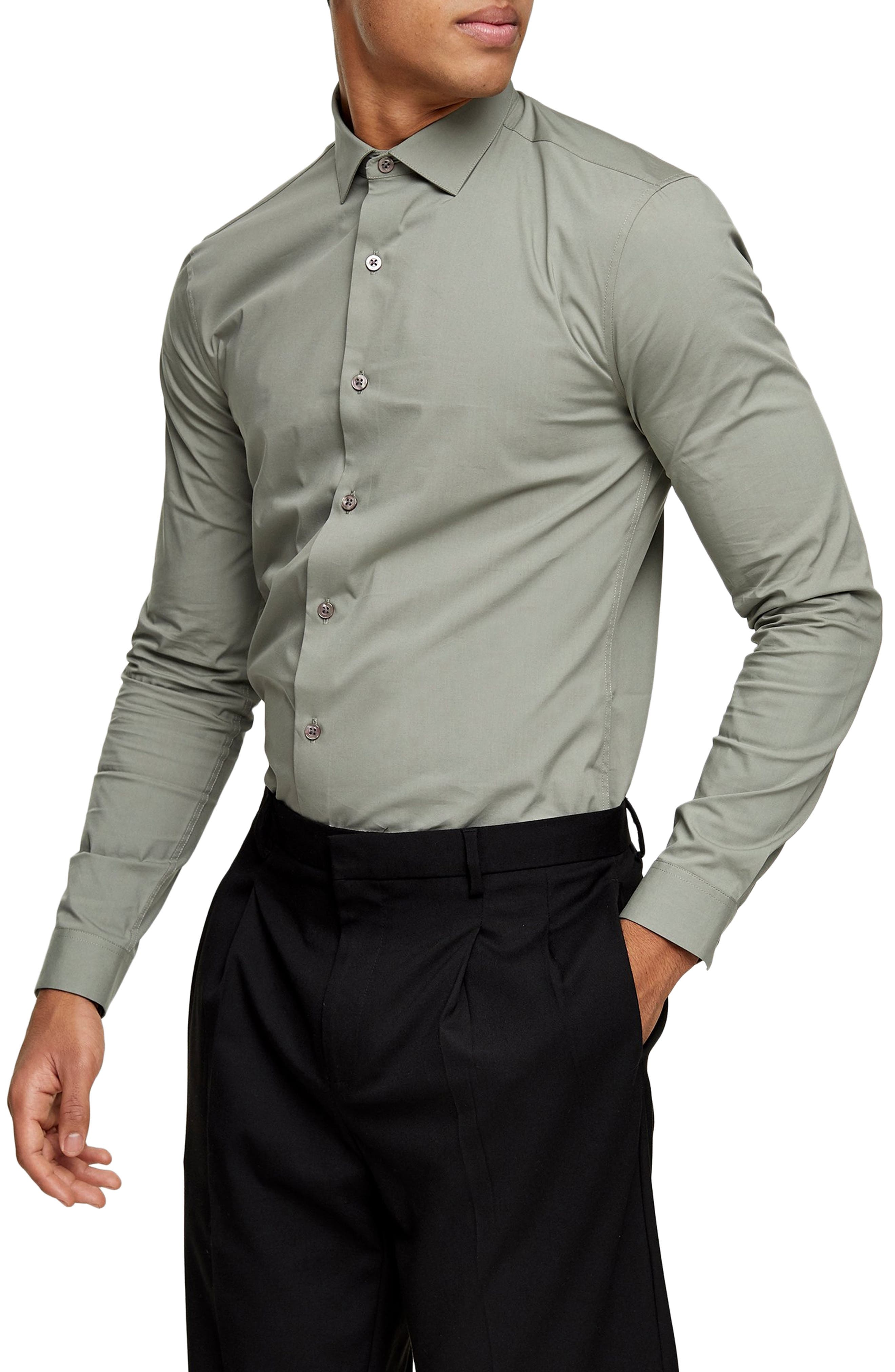 Image of TOPMAN Stretch Button-Up Shirt