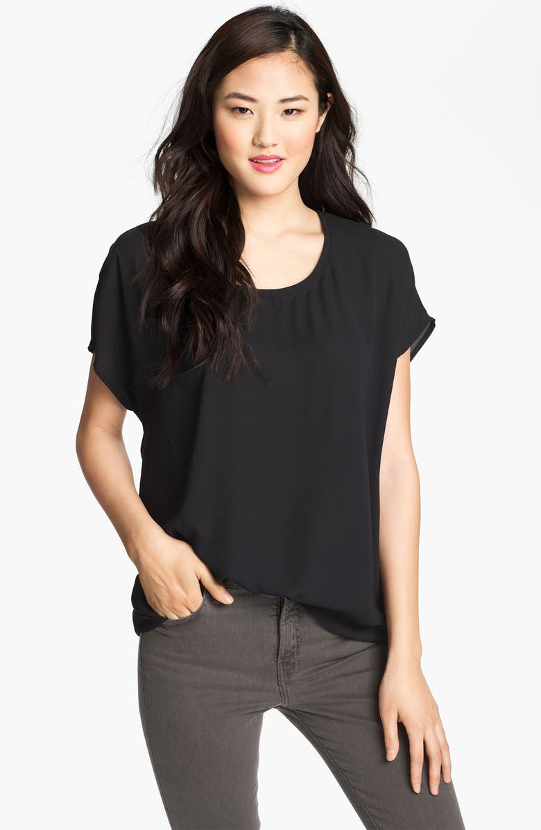 PLEIONE Scoop Neck Short Sleeve Blouse, Main, color, 001
