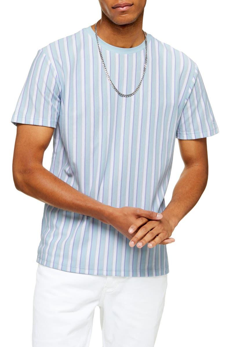 TOPMAN Frank Stripe Piqué T-Shirt, Main, color, BLUE MULTI