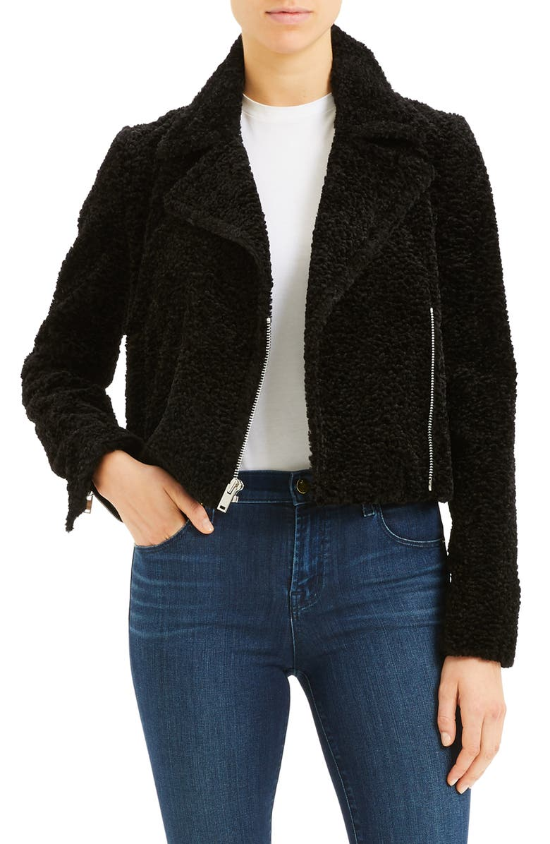THEORY Crop Faux Fur Moto Jacket, Main, color, 001