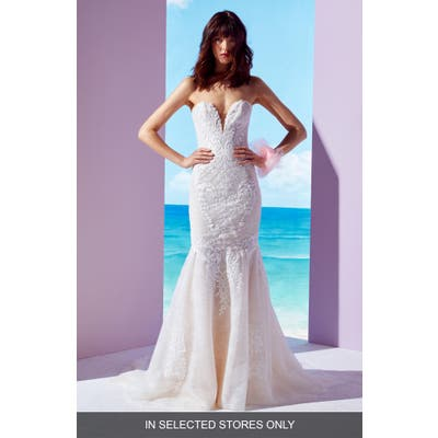 Ines By Ines Di Santo Daphne Beaded Lace Mermaid Gown, Size - Ivory