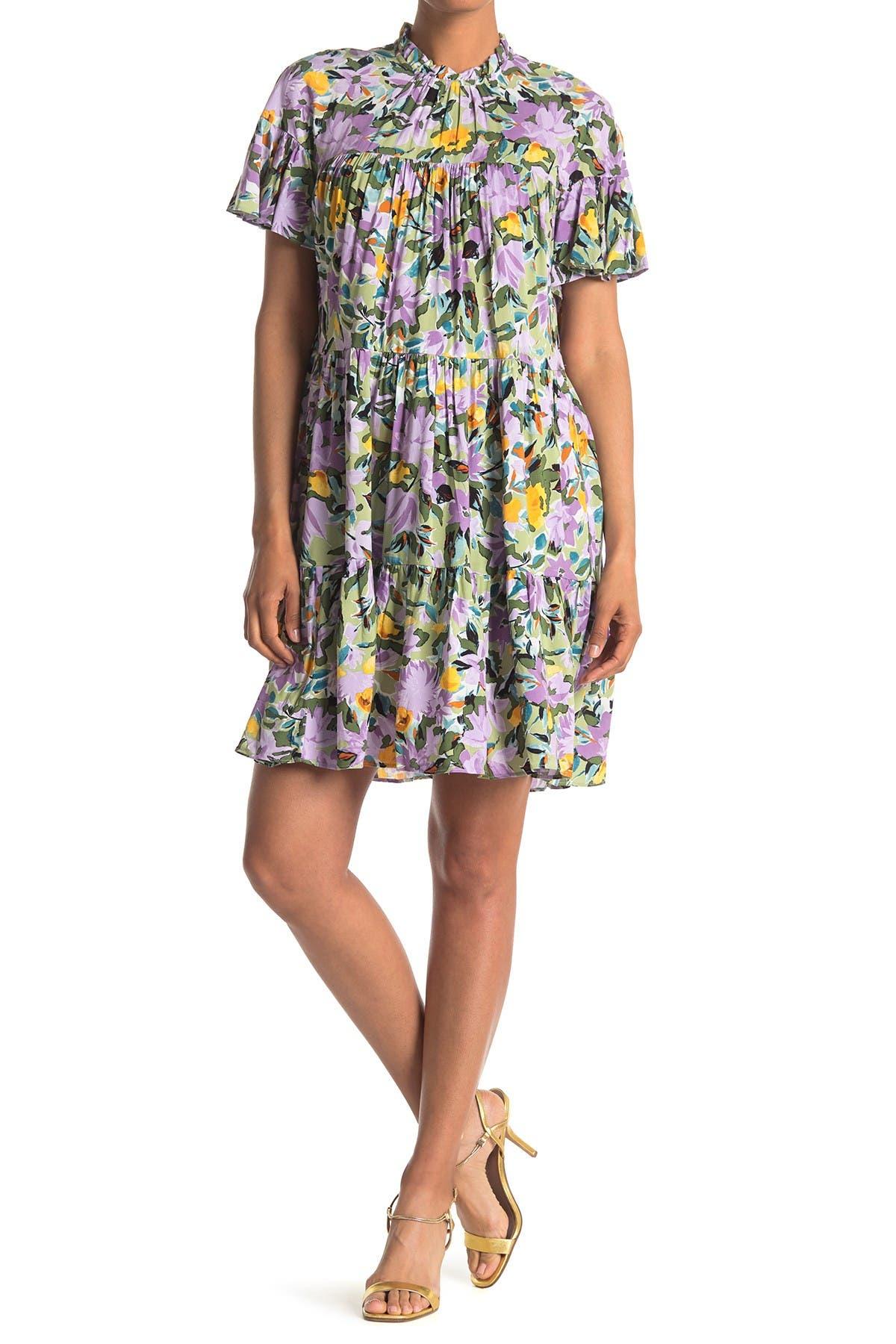 Image of Donna Morgan Loose Multi Tier High Neck Dress