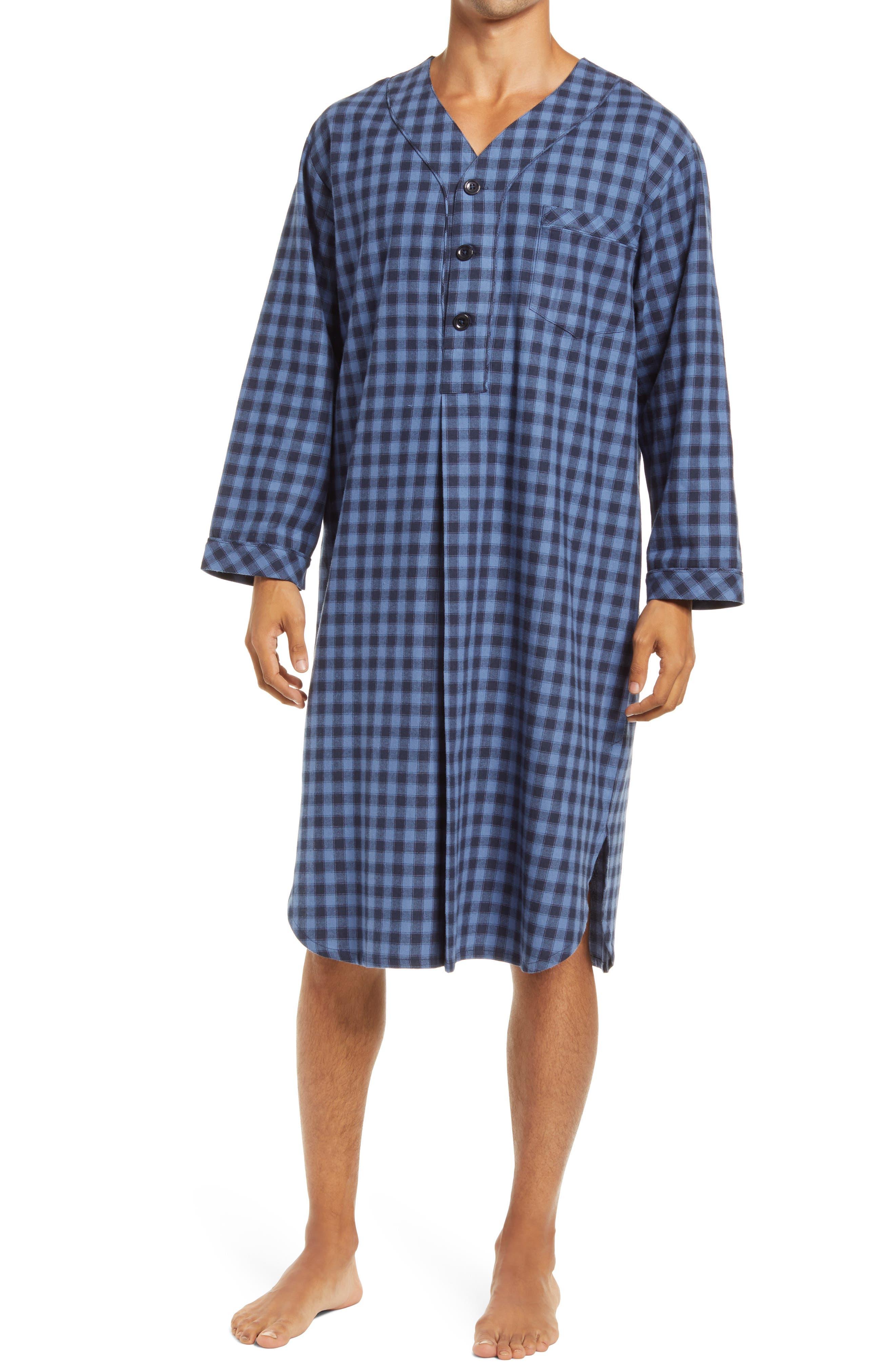 1940s Men's Underwear: Briefs, Boxers, Unions, & Socks Mens Majestic International Flannel Nightshirt Size SmallMedium - Blue $70.00 AT vintagedancer.com