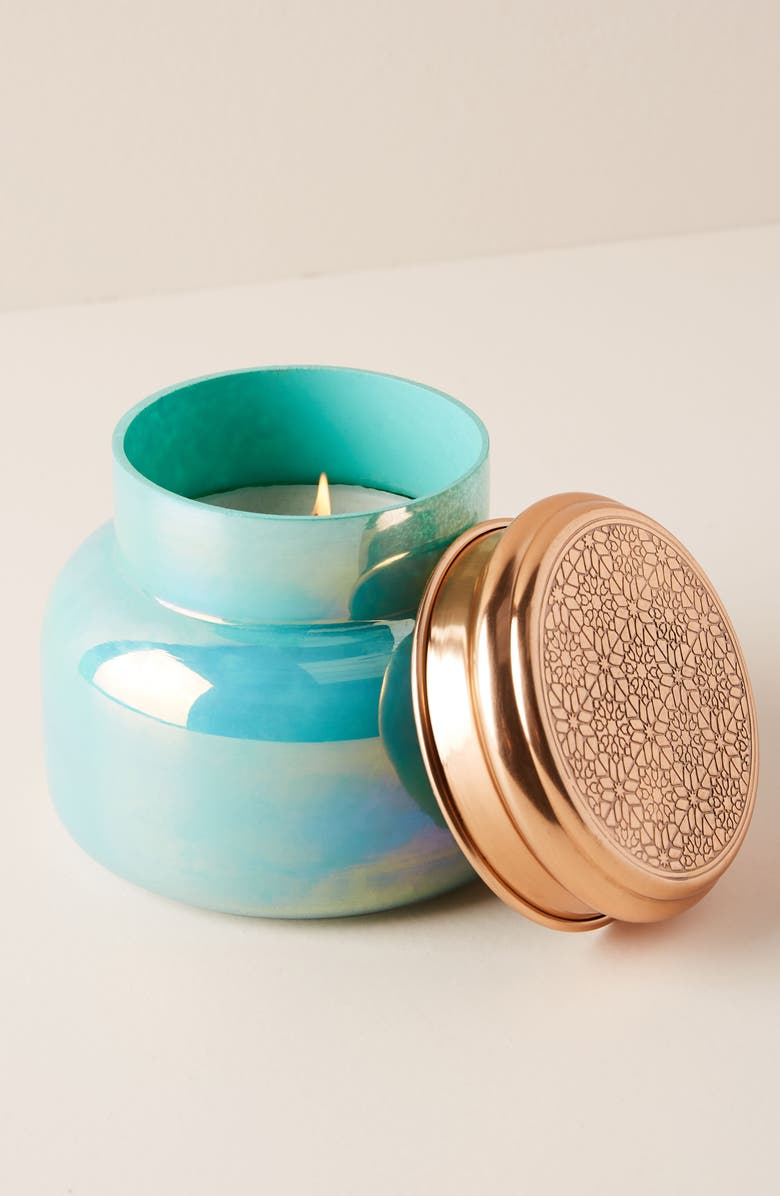 ANTHROPOLOGIE Turquoise Opal Jar Candle, Main, color, LOLA BLOSSOM