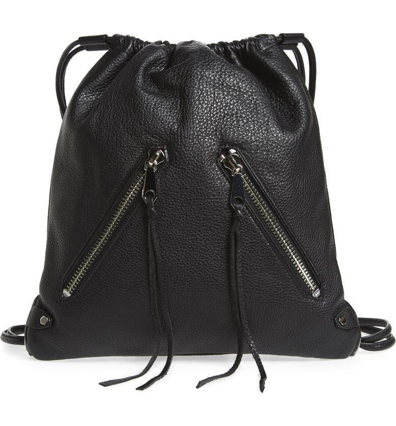 REBECCA MINKOFF 'Moto' Leather Drawstring Backpack, Main, color, 001