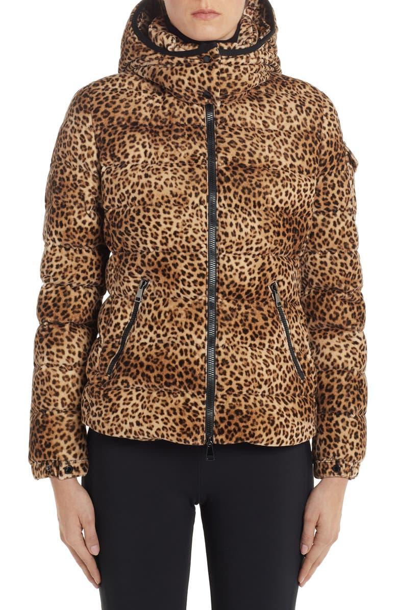 MONCLER Badyfur Cheetah Print Hooded Down Coat, Main, color, ANIMAL