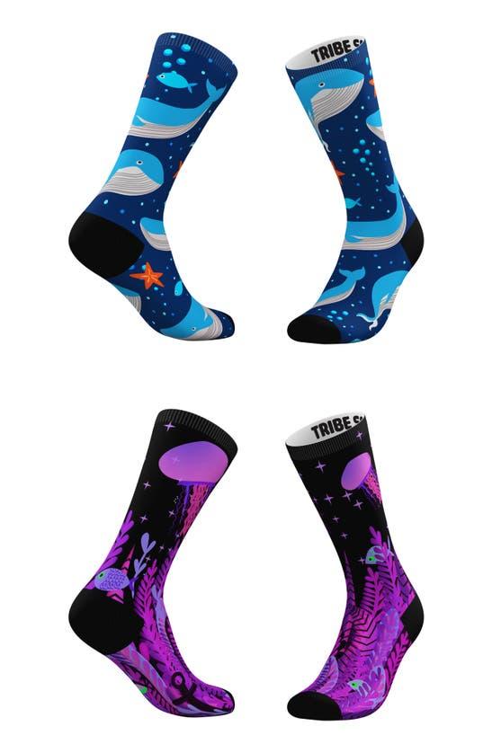 TRIBE SOCKS Socks ASSORTED 2-PACK DEEP BLUE WHALE & PURPLE SEA CREW SOCKS