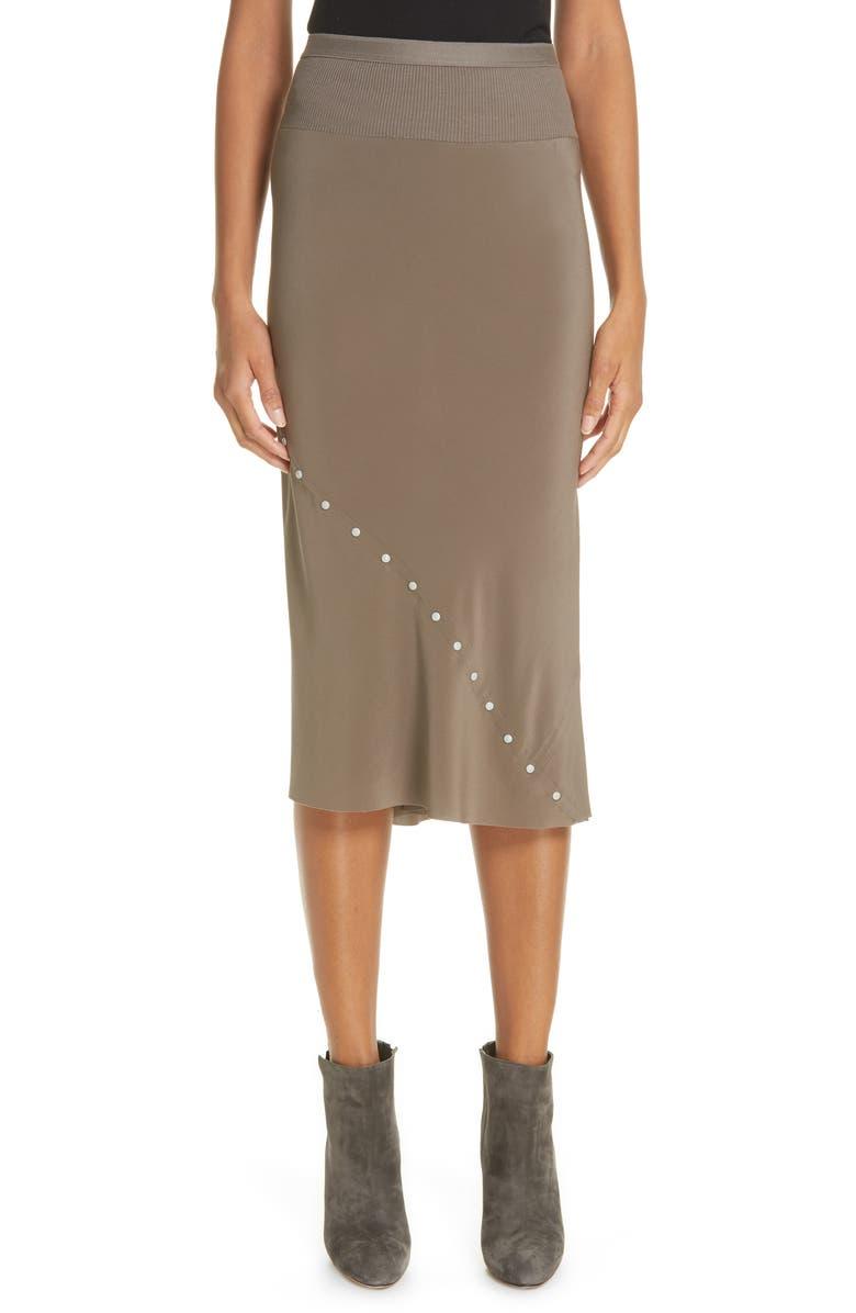 RICK OWENS Snap Detail Bias Silk Skirt, Main, color, 020