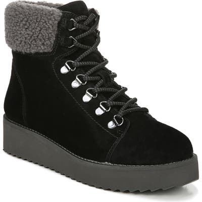 Sam Edelman Franc Hiking Boot With Faux Shearling Trim, Black