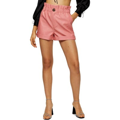 Topshop Paperbag Waist Faux Leather Shorts, US (fits like 2-4) - Pink