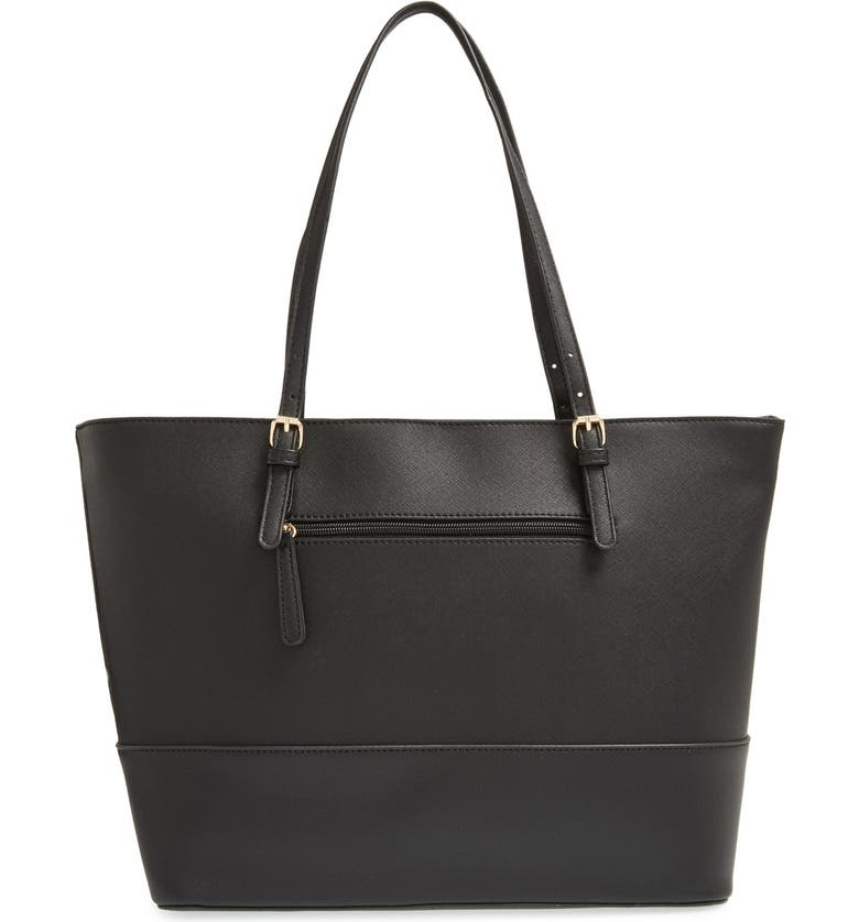 BP. Crosshatch Faux Leather Tote, Main, color, 001