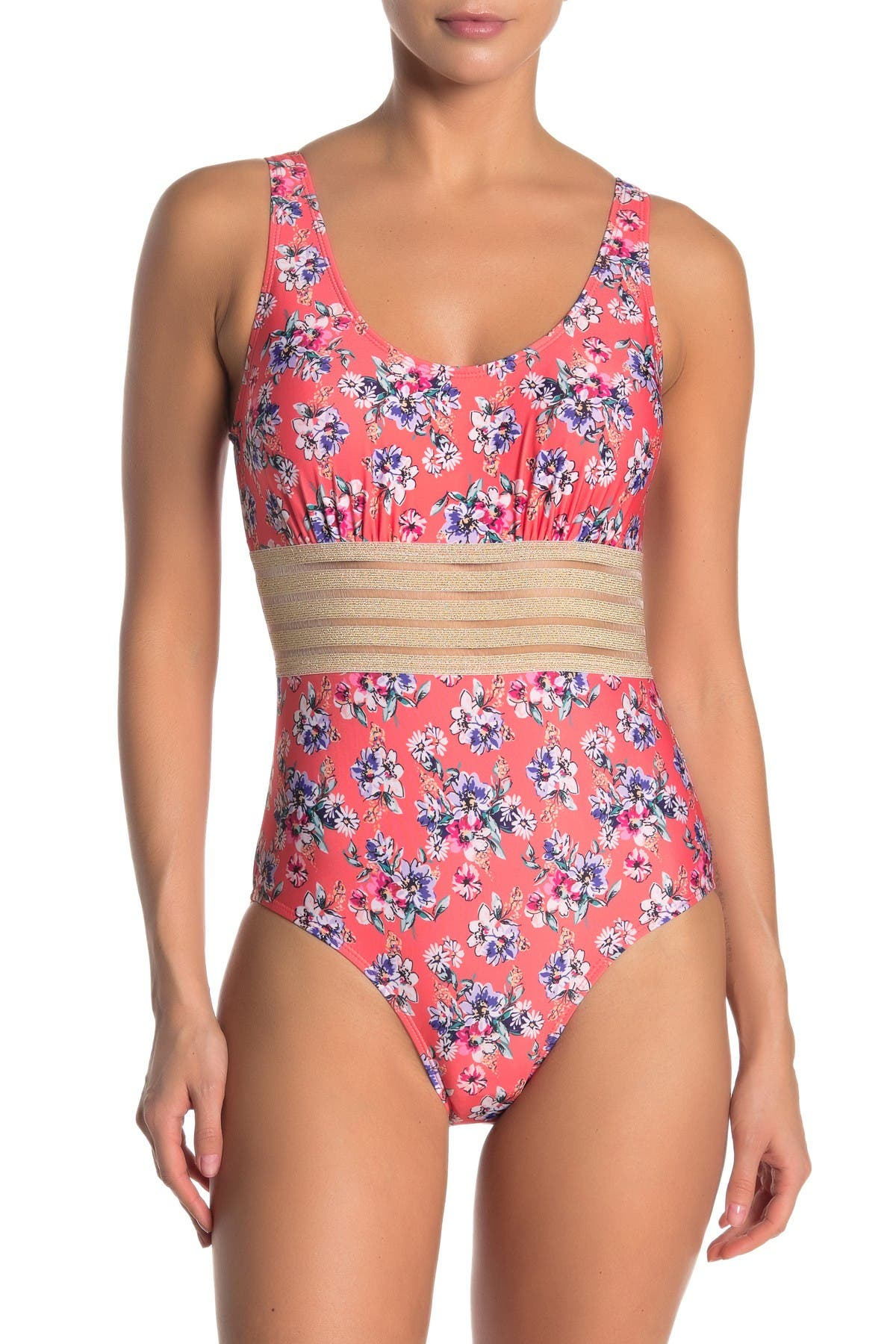 Image of Nicole Miller One-Piece Sleeveless Floral Swimsuit