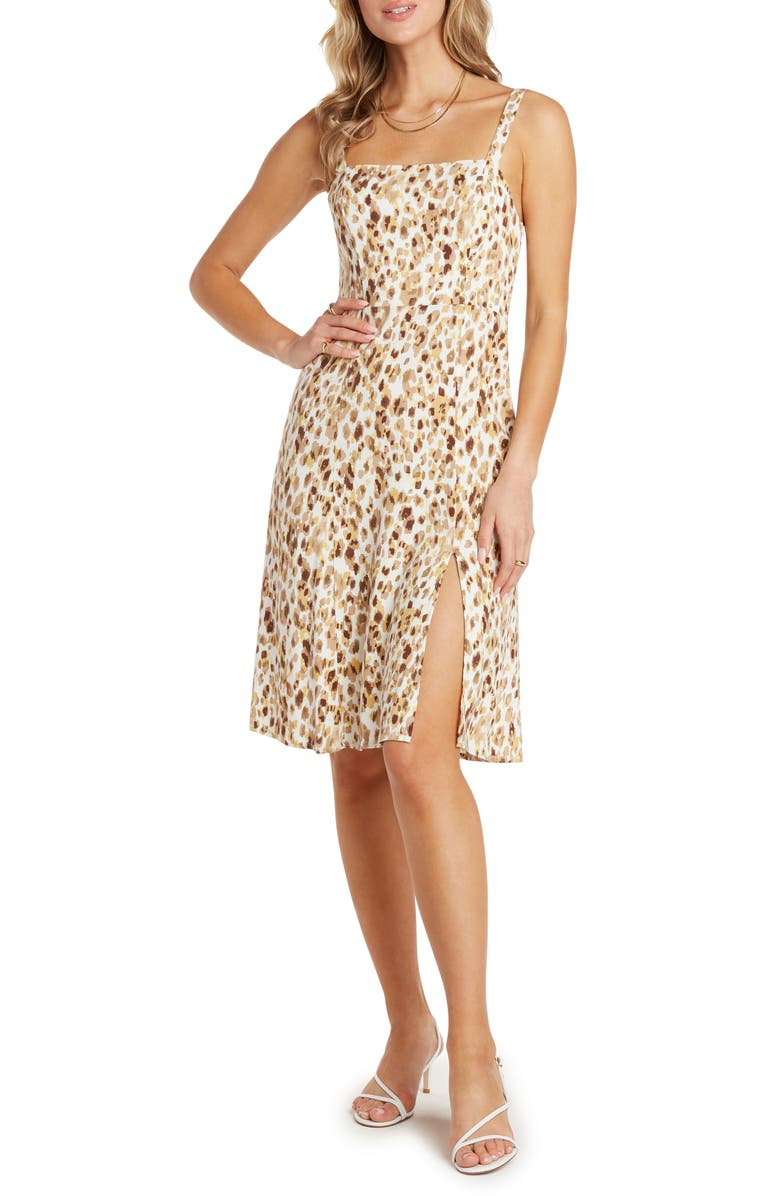 WILLOW Heather Sleeveless Square Neck Dress, Main, color, LEMON