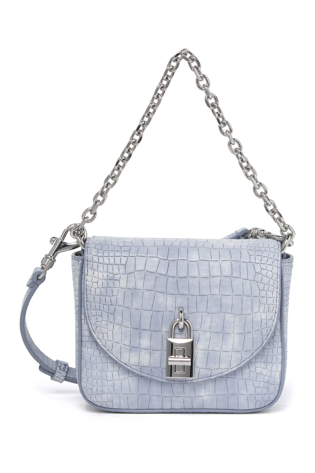 Image of Rebecca Minkoff Love Too Croc Embossed Leather Micro Crossbody Bag