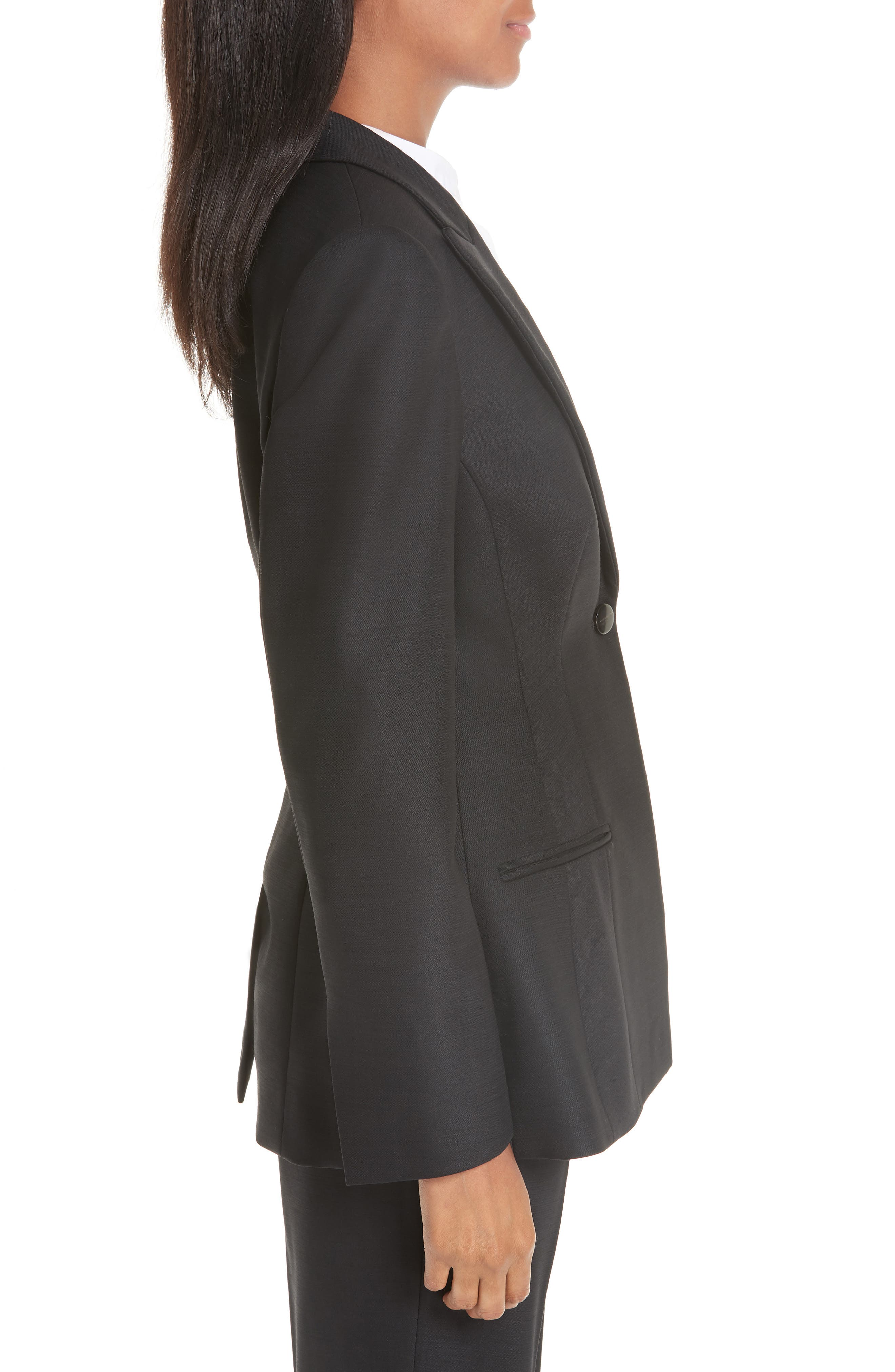 ,                             One-Button Stretch Wool Gabardine Jacket,                             Alternate thumbnail 4, color,                             BLACK