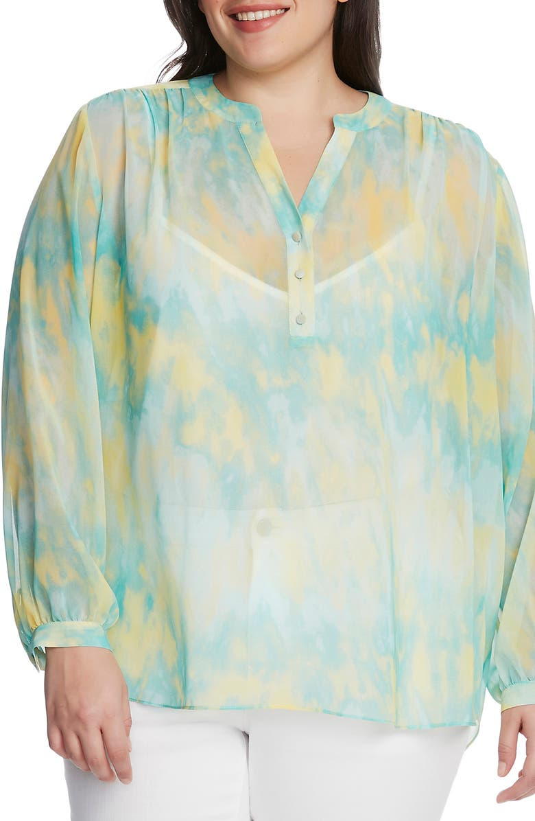 VINCE CAMUTO Tie Dye Henley Tunic, Main, color, 440