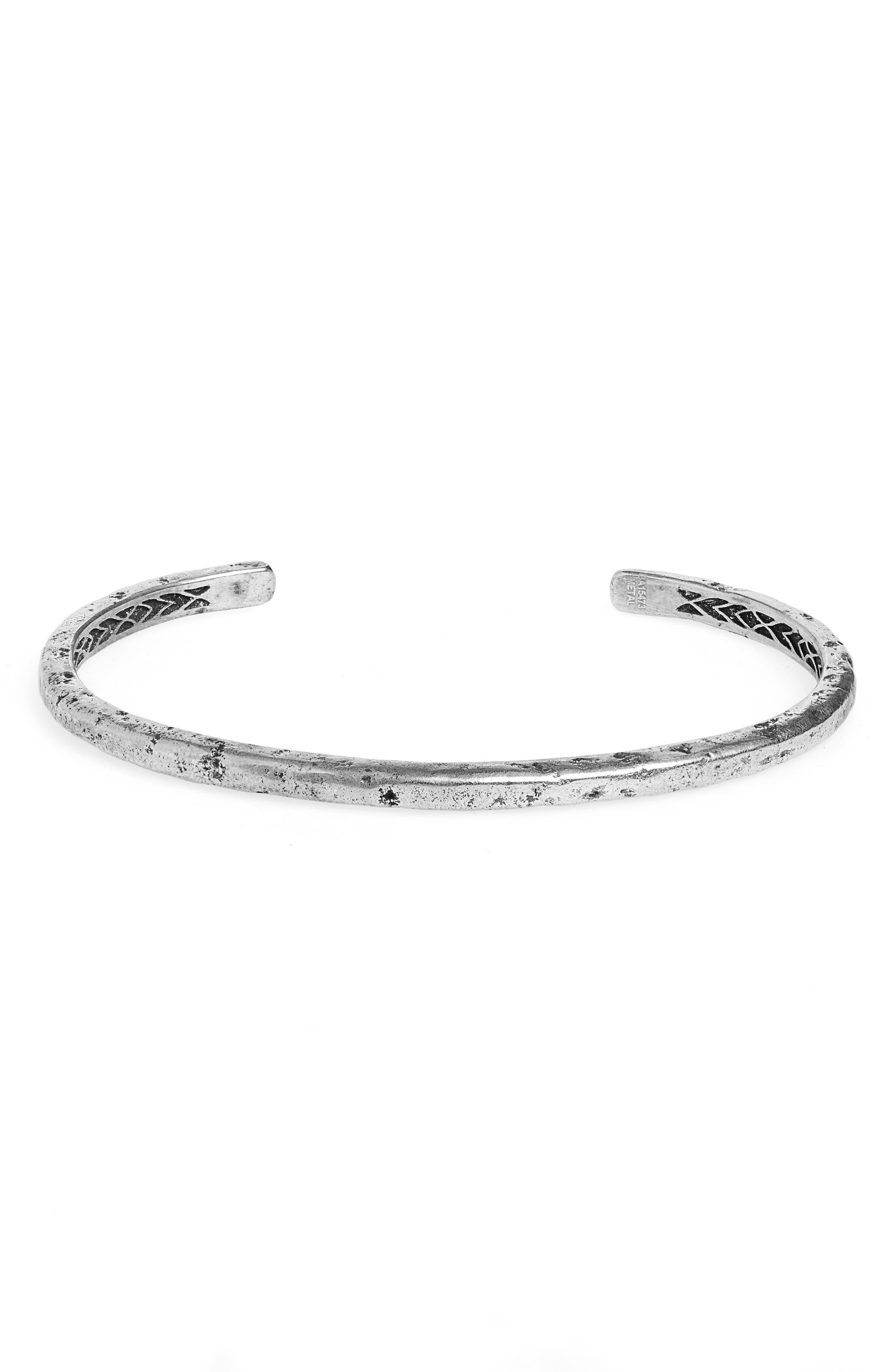 Distressed Silver Cuff Bracelet